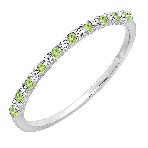 14K White Gold Round Peridot & White Diamond Ladies Anniversary Stackable Wedding Band (Size 7) White Gold Peridot Ring