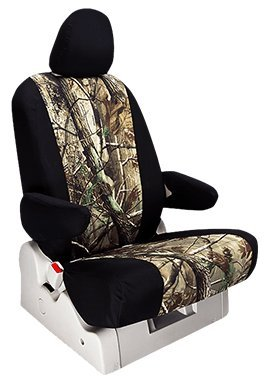 Custom Fit GMC Yukon Seat Covers (2003-2006) Rear Seat Set - in Realtree Black w/ AP Inserts print - 60/40 Split Bench w/ Pullout Arm and Large Folding Headrests and - Split Folding Bench 60