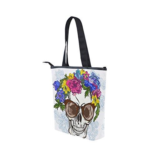 Soleil tout De Bandoulière Crâne Alaza Toile Main Fourre Sac En Lunettes Avec À Floral qwEnU1OS
