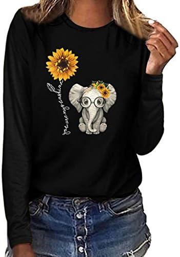 Womens T Shirts Short Sleeve Graphic Cute Elephant Sunflower Mamaw Print Crewneck Shirts Summer Tops Blouse Plus Size