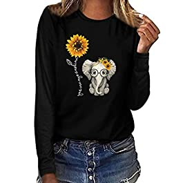 Gofodn Tops for Women Plus Size Sweatshirts Pullover Shirt Ladies Casual Print O Neck Wild Long Sleeve Blouse