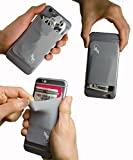 Gecko Travel Tech Cell Phone Card Wallet Stick on - Phone Holder for iPhone and Android - Credit Card ID Cash Cellphone Pocket - Gray