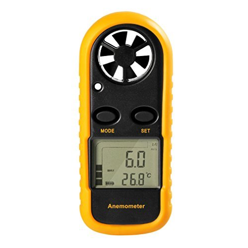 GM816 Digital Handheld Anemometer, Pocket Digital Anemometer with LCD Display for Measuring Wind Speed, Temperature and Wind Chill (Yellow)