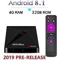 [2019 Pre Release] Wireless Mini Keyboard+Android 8.1 Oreo 4GB/32GB Plugin use USA version Smart V17.6 Premium AI TV Box WiFi 4K 3D HD