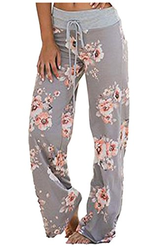 eed9b905202 Odosalii Women s Comfy Chic Floral Print Lounge Drawstring Palazzo Long  Wide Leg Yoga Pants