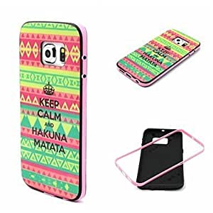 GDW 2-in-1 Bumblebee Keep Calm HAKUNA MATATA Pattern TPU Back Cover with PC Bumper Shockproof Soft Case for S6 edge G925