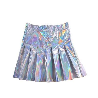 lychee Shiny Metallic Skater Skirt Holographic Hologram Pleated Sliver Dress High Waist