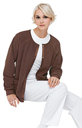 Urbane Essentials Women's Fleece Solid Scrub Jacket X-Large Chocolate