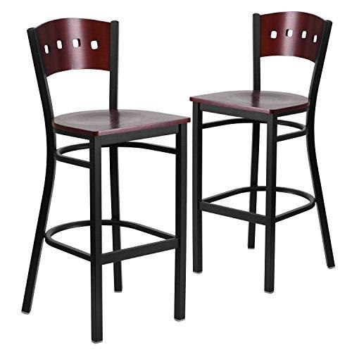 Contemporary Mahogany Bar Stool - Flash Furniture 2 Pk. HERCULES Series Black 4 Square Back Metal Restaurant Barstool - Mahogany Wood Back & Seat