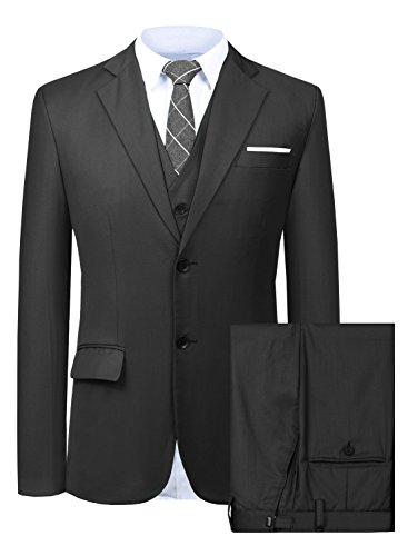 - Men's Suit 3 Piece Busines Classic Solid Regular Fit Blazer Coat Vest Pants Set(Black,44)
