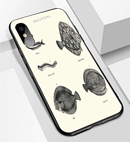 Lance Fish - iPhone X/XS Ultra-Thin Phone case Fish Flounder Sole Sand Lance Gymnele Whiff Anti-Drop Anti-Slip Soft Convenient Protective Shell