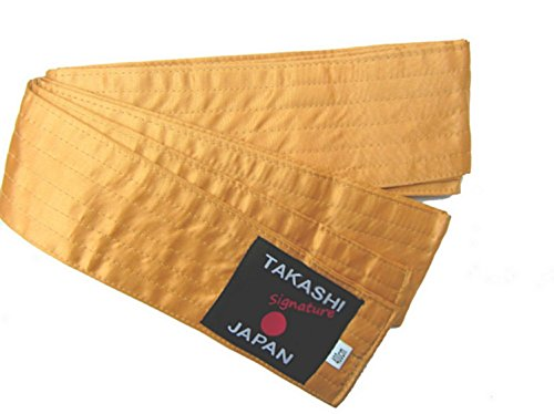 (TAKASHI JAPAN Silk/Satin OBI Laido Kendo,Aikido Belt Gold-GORUDO 400x8cm Soft OBI 6 Row Stitching Easy Tie)