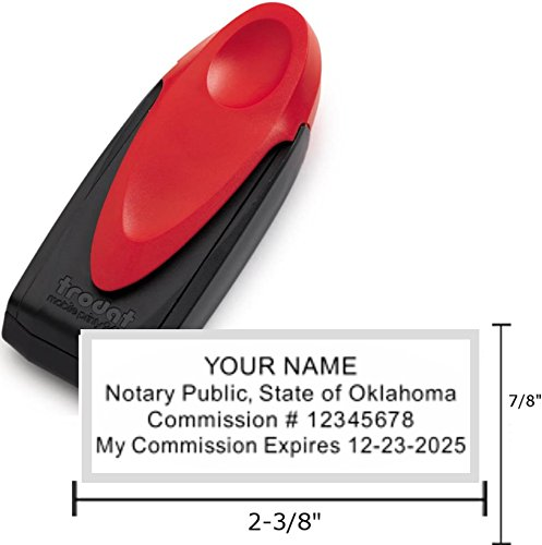 Standard Red Trodat 9413 Mobile Printy Notary Pocket Stamp   Oklahoma
