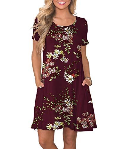 KORSIS Women's Summer Floral Dresses Short Sleeve Tunic T Shirt Swing Dresses Flower Wine Red S