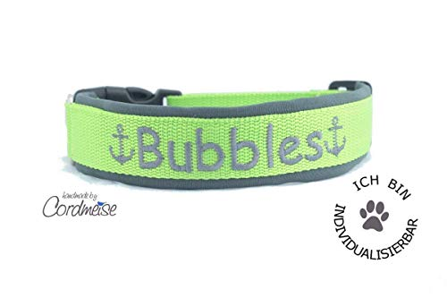 Hundehalsband Gurtband mit Neopren mit WUNSCHTEXT