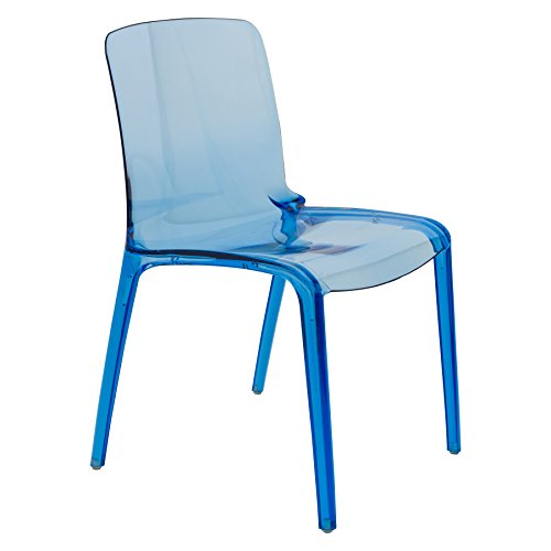 LeisureMod Adler Mid-Century Modern Dining Side Chair (Transparent Blue)
