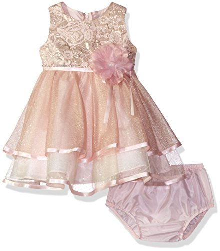 Rare Editions Girls' Social Special Occasion Dress, Blush, 12M