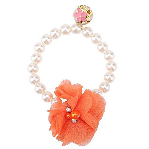 Garosa Pet Pearl Flower Necklace Princess Necklace Collar Accessories for Puppy Decoration(Orange)