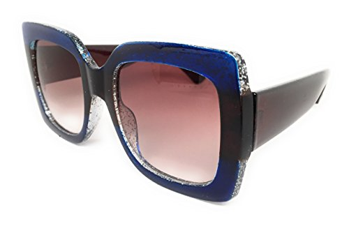 My Shades(TM) - Designer Inspired Oversize Glitter Sparkle Square Frame Sunglasses (Glitter Blue, Brown, Blue / Brown Gradient) (Glasses Red Glitter)