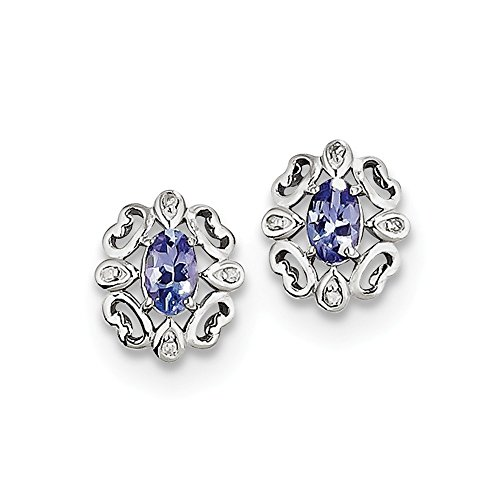 Sterling Silver Rhodium Plated Diamond Tanzanite Round Post Earrings by Jewels By Lux