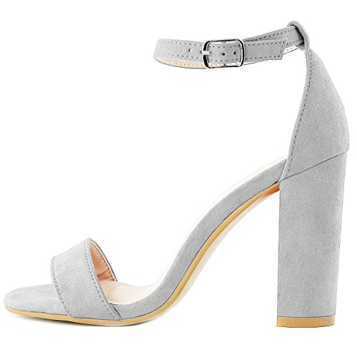 Toe with Evening Ankle Chunky DailyShoes Suede Heel Open Pumps Shoes Women's Wedding Strap Grey Buckle Sandal Women's Party qCSYwF