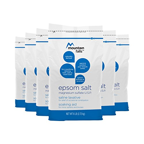 Mountain Falls Magnesium Sulfate U.S.P. Epsom Salt Soaking Aid for Minor Sprains & Bruises, Saline Laxative for Relief of Occasional Constipation, 6 Pound (Pack of 6) by Mountain Falls