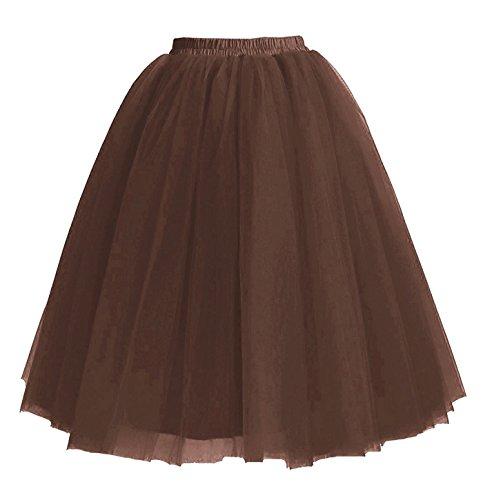 65cm Tulle Facent sous Tutu Robe Femmes Jupons Chocolat Jupes 5 Longueur Couches Genou wCqfxZSB