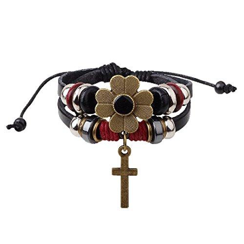 Red Dandelion PERFECT Gift Cross Pendant Plum Flower Unisex Multilayer Handmade Bracelet