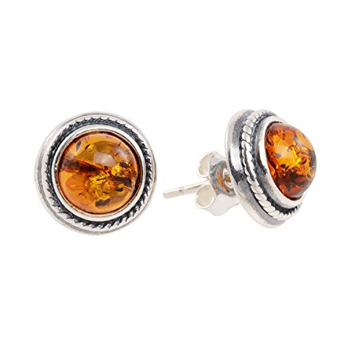 Sterling Silver and Round Baltic Honey Amber Stud Earrings