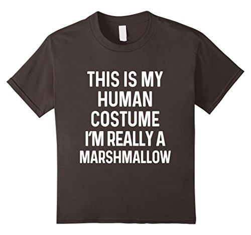 Marshmallow Halloween Costumes (Kids Funny Marshmallow Costume Shirt Halloween Kids Men Women 10 Asphalt)