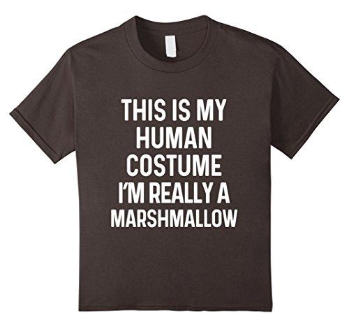 Marshmallow Halloween Costumes (Kids Funny Marshmallow Costume Shirt Halloween Kids Men Women 10 Asphalt)
