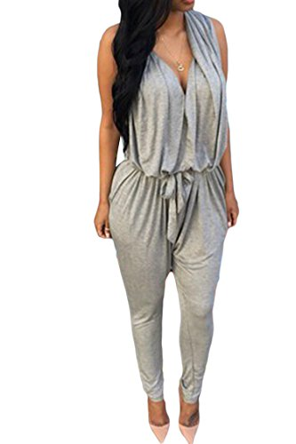 Pink Queen Women Sexy V Neck Casual Harem Pants Jumpsuits Rompers(Grey,XL)