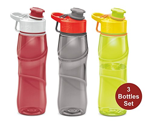 Heavy Duty Plastic Water Bottle - Kids Water Bottle Milton 3 Pack Triton 25 Ounce Large Sports Water Bottle For Men, Women, Kid Wide Mouth Water Bottle With Strap Carry Handle For Bike Gym Running Cycling Camping Fitness Multi Color