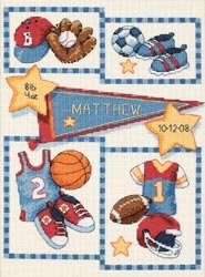 - Dimensions 356012 Baby Hugs Little Sports Birth Record Counted Cross Stitch Ki-9 in. x 12 in. 14 Count