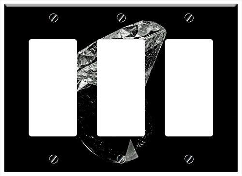 (Switch Plate Triple Rocker/GFCI - Diamond Black Rich Brilliant Crystal Background 2 )