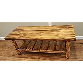 Midwest Log Furniture   Torched Cedar Log Coffee Table