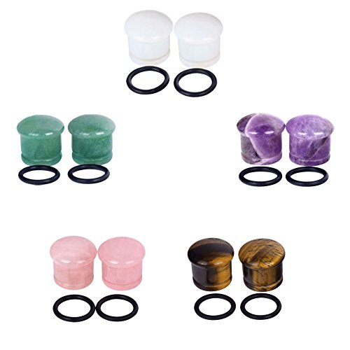 Stone Tunnel - Longbeauty 5Pair Single Flare Mixed Stone Ear Plugs and Tunnels with O-Ring Stretcher Expander 2 Gauge