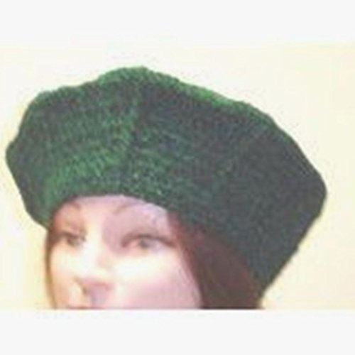 - Hand Crocheted Denim Color 100% Rayon Chenille Gimp Beret