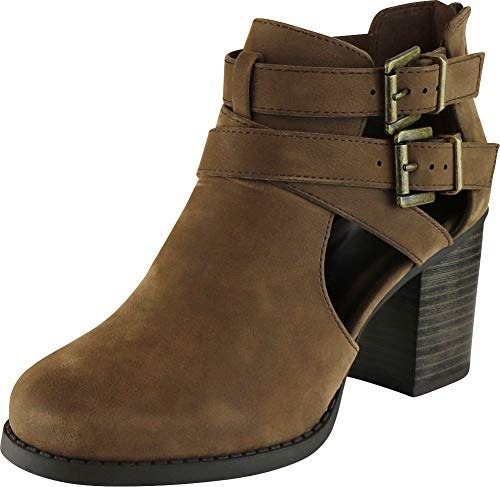Cambridge Select Women's Side Cut Out Buckle Chunky Stacked Heel Ankle Bootie (7.5 B(M) US, Brown NBPU)