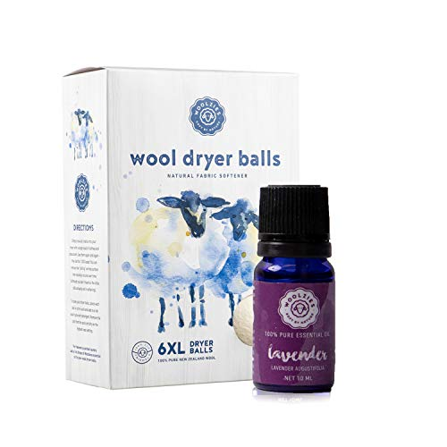 Woolzies Wool Dryer Balls Organic: 6 XL Laundry Balls for Dryer + 10 ml Lavender Essential Oil Combo for use as 100% Pure and Natural Fabric Softener   Best Scented Wool Balls Laundry