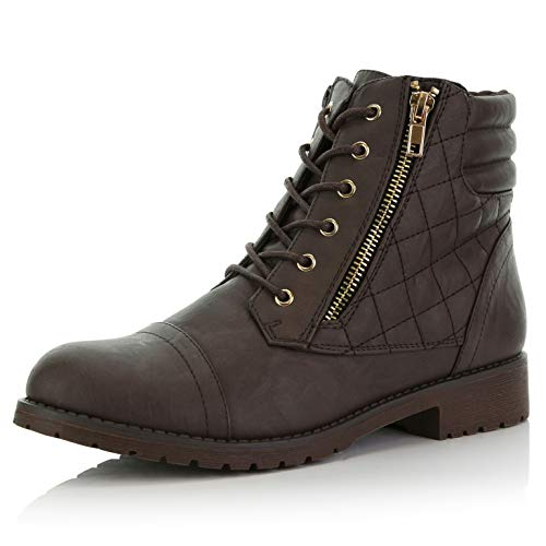 DailyShoes Women's Military Lace Up Buckle Combat Boots Ankle High Exclusive Credit Card Pocket, Brown Pu, 7.5