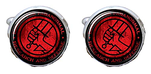 New Horizons Production Hellboy Themed Glass Dome Metal Enamel Cuff Links