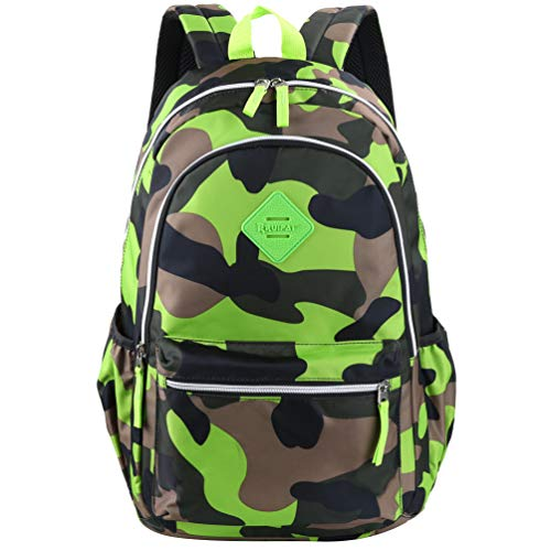 Vbiger Girl's & Boy's Backpack for Middle School Cute Bookbag Outdoor Daypack (Green(camouflage)) -