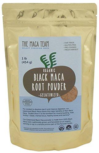 Gelatinized Black Maca Root Powder - Fresh Harvest From Peru, Certified Organic, Fair Trade, Gmo-free, Gluten Free, and Vegan, 1 Lb Lb - 50 Servings