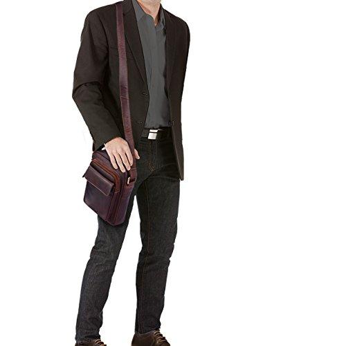 STILORD 'Jannis' Bolso mensajero hombre cuero pequeño vintage bolso bandolera mensajero para 9.7 pulgadas tablet PC iPad de cuero auténtico de búfalo, Color:cognac marrón oscuro cognac marrón oscuro