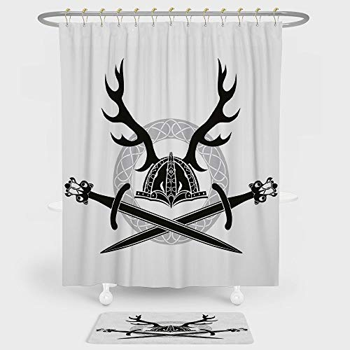 iPrint Antler Decor Shower Curtain Floor Mat Combination Set Helmet Antlers Viking Swords Celtic Circle Medieval Barbarian Decorative decoration daily use Black White Silver -