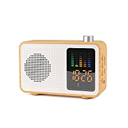 Miaboo Portable Bluetooth Speaker, Wooden Retro Stereo Wireless Speakers, FM Radio Digital Alarm Clock with TF Card/AUX-in USB Charging Supported(Maple Wood)