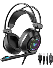 AULA S600 Wired Gaming Headset with HD Noise Cancelling Microphone, LED Breathing Lights, Over Ear Earmuffs PC Mac Games Headphone Mic for Deaktop Computer, PS4, Xbox One, Nintendo Switch (USB+3.5mm)