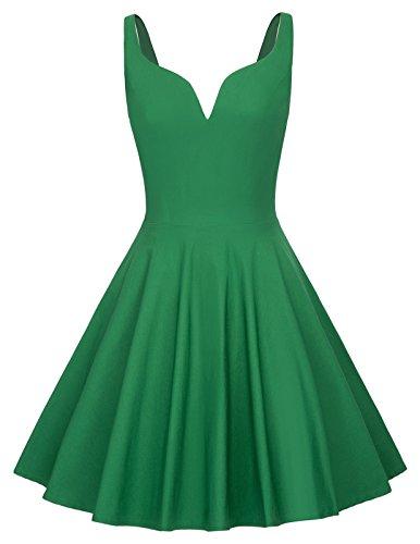 GRACE KARIN Women V Neck Flared A-Line Short Swing Dress Size L Green