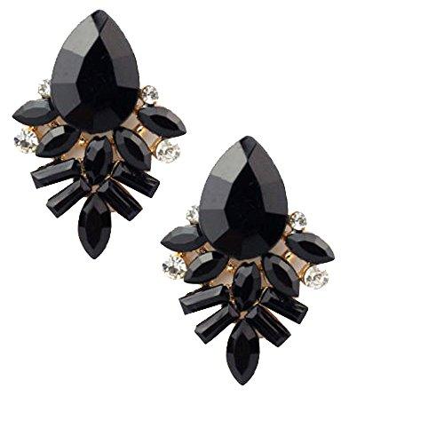 - Gold Tone Art Deco Antique Vintage Style Jet Black Onyx Rhinestone Wedding Bridal Prom Cluster Earrings
